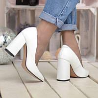Туфли-лодочки белые кожаные с острым на каблуке 9 см свадебные нарядные 37 38