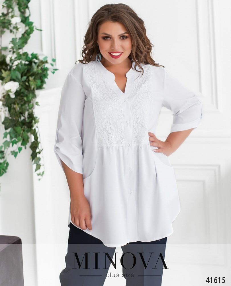 Удлиненная женская рубашка свободного кроя, большого размера  от  48 до 62