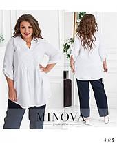 Удлиненная женская рубашка свободного кроя, большого размера  от  48 до 62, фото 3