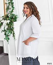 Удлиненная женская рубашка свободного кроя, большого размера  от  48 до 62, фото 2