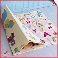 Двусторонний складной развивающий детский термо коврик для ползания и игр с ростомером