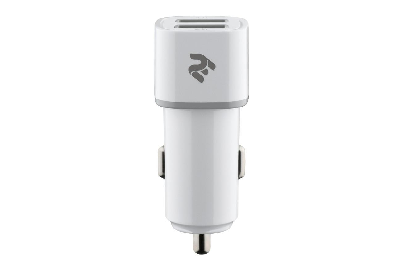 Автомобильное зарядное устройство в прикуриватель 2E 2xUSB 2.4 А Белый (2E-ACR01-W)