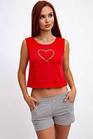Яркий, летний, костюм женский, красно-серый 102R096