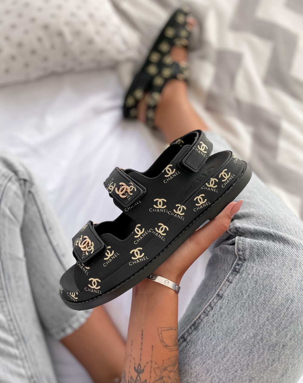 "Сандали / Босоножки Chanel / Шанель ""Dad"" sandals Black Logo"