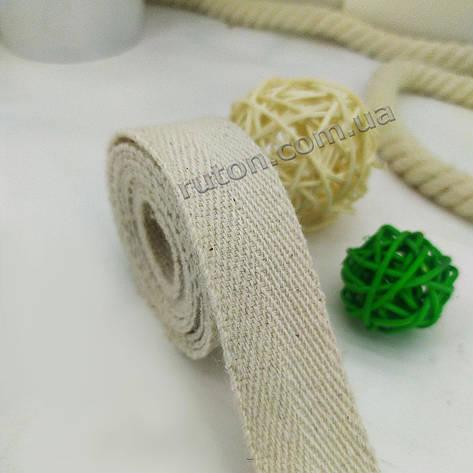 Хлопковая лента для изготовления ручек на эко сумки 25 мм 50 м для рукоделия, фото 2