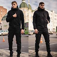 Демисезонные мужские Штаны Cargo Черные из ткани Soft Shell + Стильная качественная куртка Осень/Весна