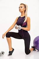 Майка женская спортивная, черно-розовая 117R006
