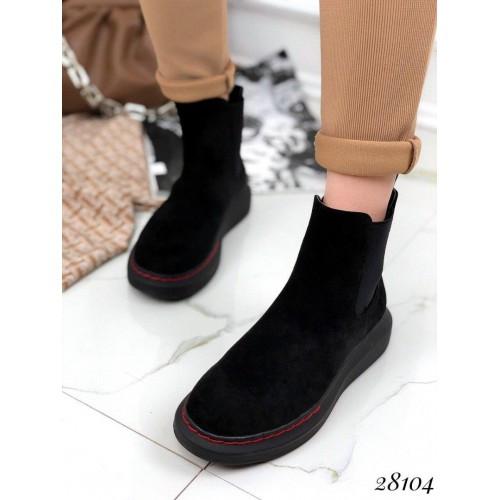 Черные замшевые ботинки хайтопы без молнии на резинке спортивные Redheads 41