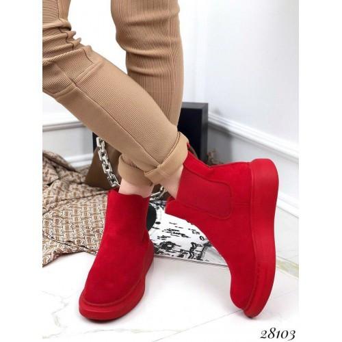 Красные замшевые ботинки хайтопы без молнии на резинке спортивные Redheads 40