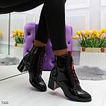 Женские демисезонные лаковые полусапожки со шнуровкой и молнией 247101, фото 2