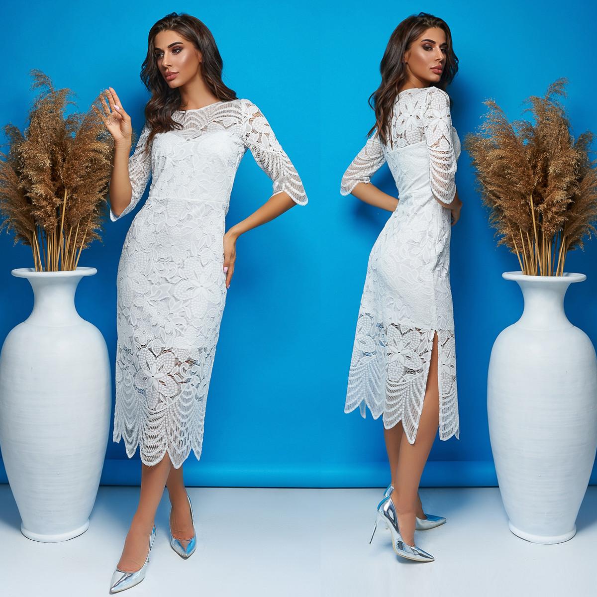 """Весільне гіпюрову сукню міді, плаття на розпис, вінчання """"Лірика"""""""
