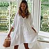 Туника-рубашка пляжная широкая короткая на пуговицах, белая