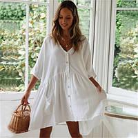 Туника-рубашка пляжная широкая короткая на пуговицах, белая, фото 1
