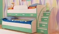 Детская двухъярусная выдвижная кровать с лестницей-комодом КК1 Merabel