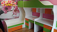 Детская двухъярусная кровать с двумя столами и лестницей-комодом АЛ3 Merabel