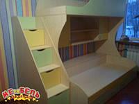 Детская двухъярусная кровать с лестницей-комодом АЛ2 Merabel