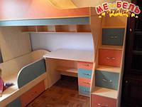 Детская двухъярусная кровать с рабочей зоной и лестницей-комодом АЛ14 Merabel