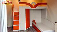 Детская двухъярусная кровать с угловым шкафом и лестницей-комодом АЛ16 Merabel