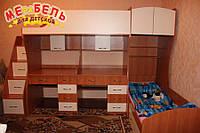 Детская двухъярусная кровать с двумя столами и лестницей-комодом АЛ18 Merabel