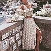 Женский юбочный костюм с длинной юбкой и топом с открытыми плечами 77KO1085