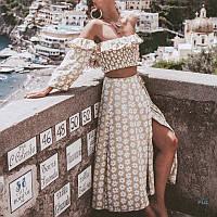 Женский юбочный костюм с длинной юбкой и топом с открытыми плечами 77KO1085, фото 1