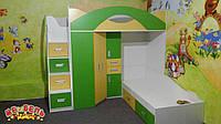 Детская двухъярусная кровать с угловым шкафом и лестницей-комодом АЛ16-2 Merabel
