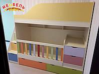 Детская двухъярусная кровать-трансформер с ящиками, пеленальным комодом и лестницей-комодом АЛ15-2 Merabel