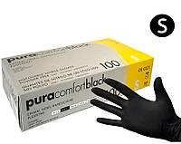 Черные нитриловые перчатки Ampri Black S (6-7) 100 шт