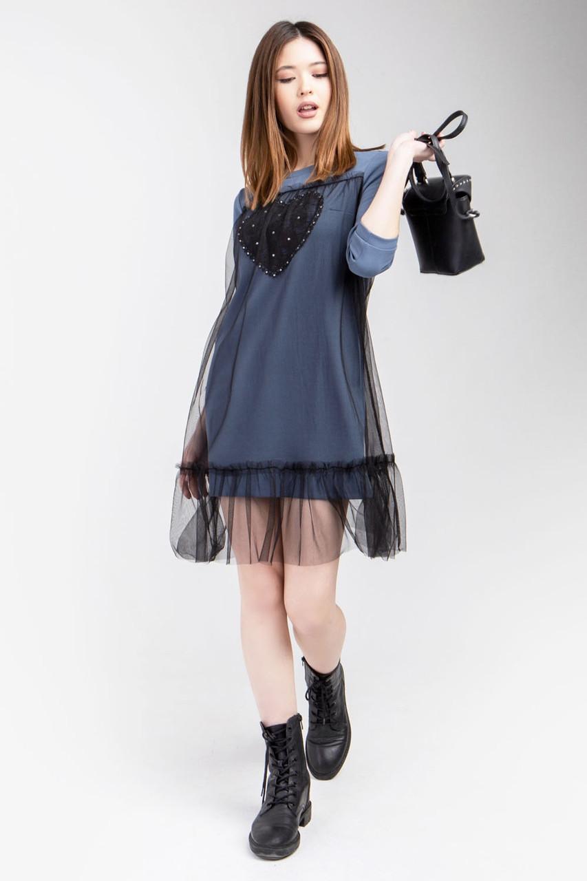 Модне жіноче плаття-туніка кольору індиго