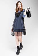 Модное женское платье-туника цвета индиго