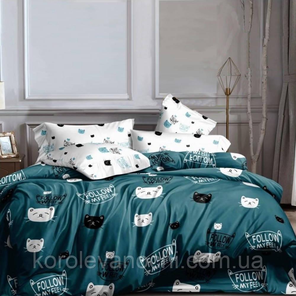 """Евро комплект (Ранфорс)   Постельное белье от производителя """"Королева Ночи""""   Коты на бирюзовом"""