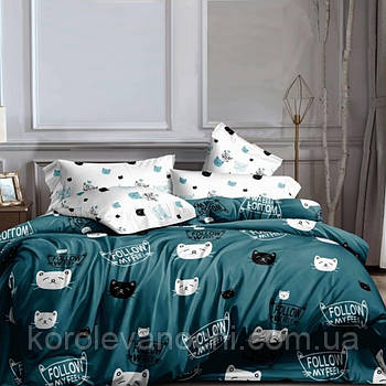 """Семейный комплект (Ранфорс)   Постельное белье от производителя """"Королева Ночи""""   Коты на бирюзовом"""
