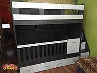 Детская двухъярусная кровать-трансформер с ящиками, пеленальным комодом и лестницей-комодом АЛ15-3 ЭКО Merabel