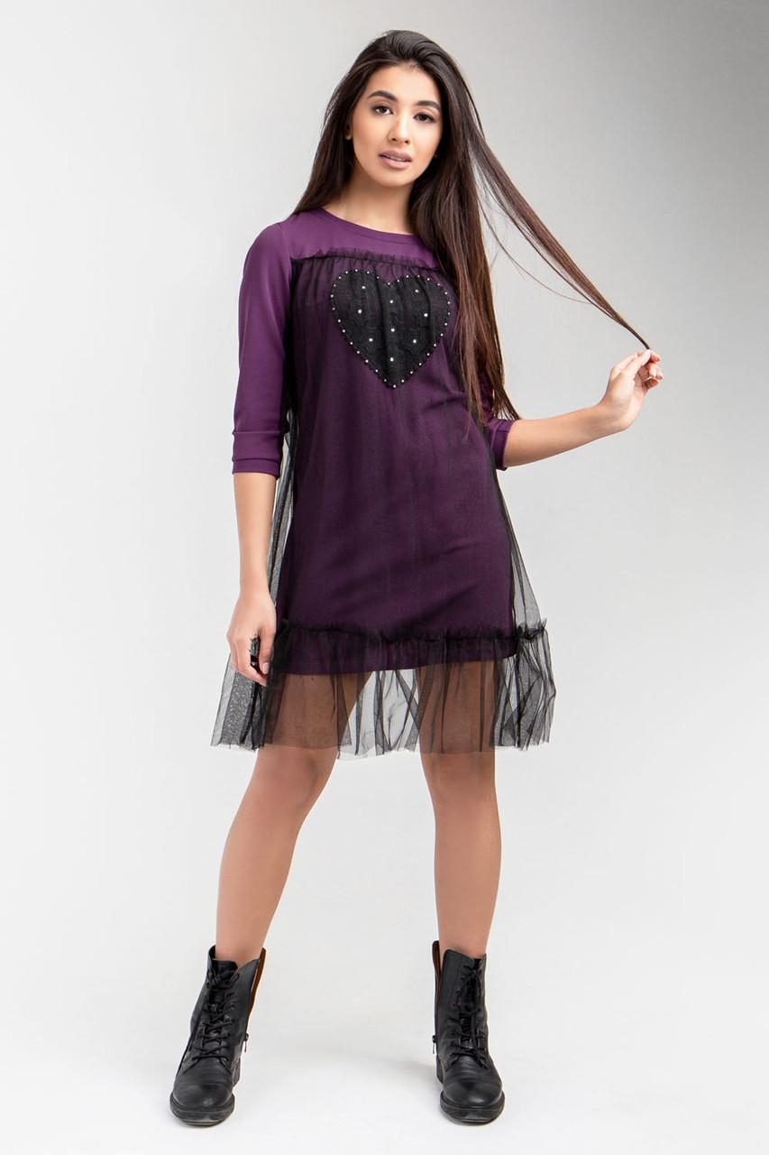 Стильне жіноче плаття-туніка з прозорим верхом, бузкове