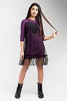 Стильне жіноче плаття-туніка з прозорим верхом, бузкове, фото 1