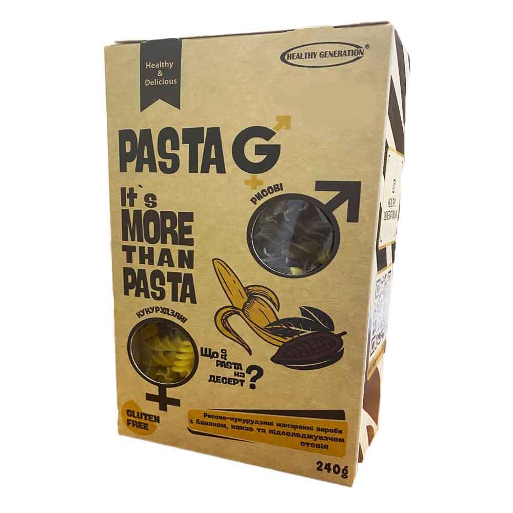"Макароны рисово-кукурузные без глютена ""банан, какао, стевия"" в форме спиралек, 240г, Pasta G"