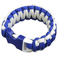 Браслет из паракорда Double Cobra (длина изделия: 20см, длина паракорда: 450см), белый/синий, фото 1