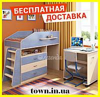 """Детская кровать чердак со столом """"Легенда-12.1"""" Кровать-чердак с рабочей зоной. Детская мебель 1932*956*1145"""