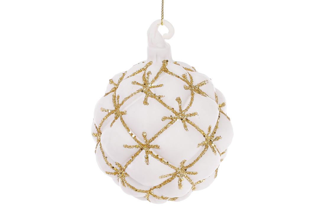 Елочный шар 8см, цвет - белый мат с золотым глитером