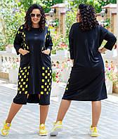 Платье туника в стиле бохо с яркими квадратами