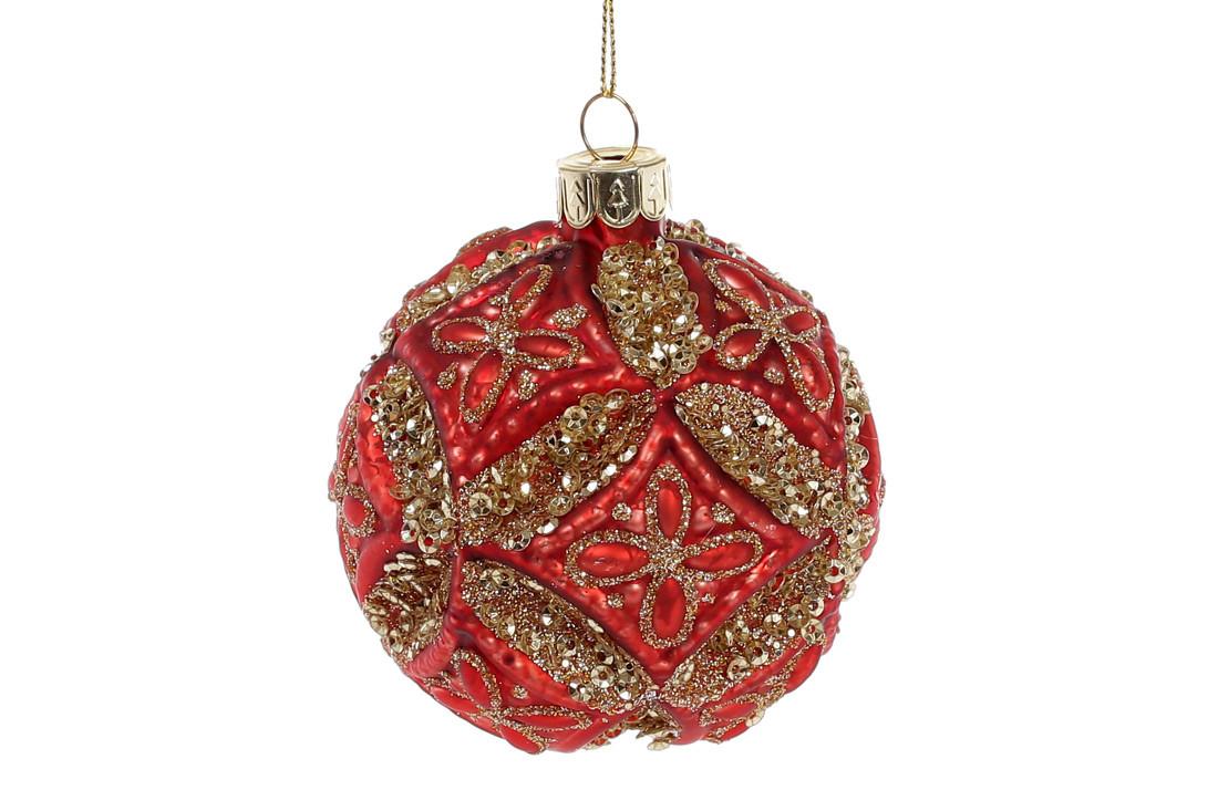 Елочный шар 8см, цвет - красный антик с золотым глитером
