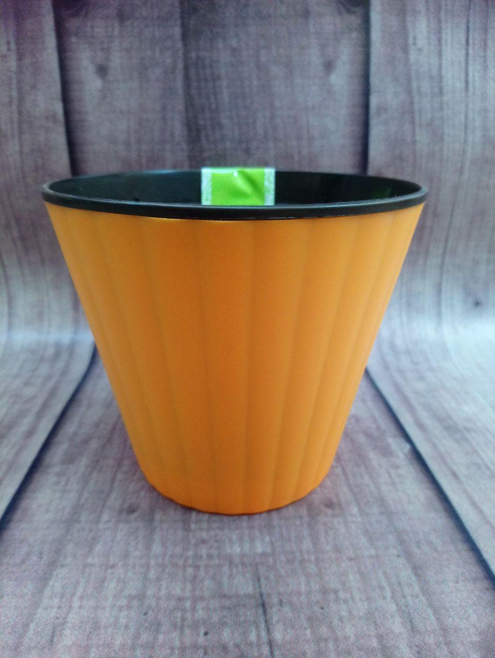 """Вазон """"Ибис"""" с двойным дном 17.9*14.7 (2.3 л) Оранжевый-черный"""