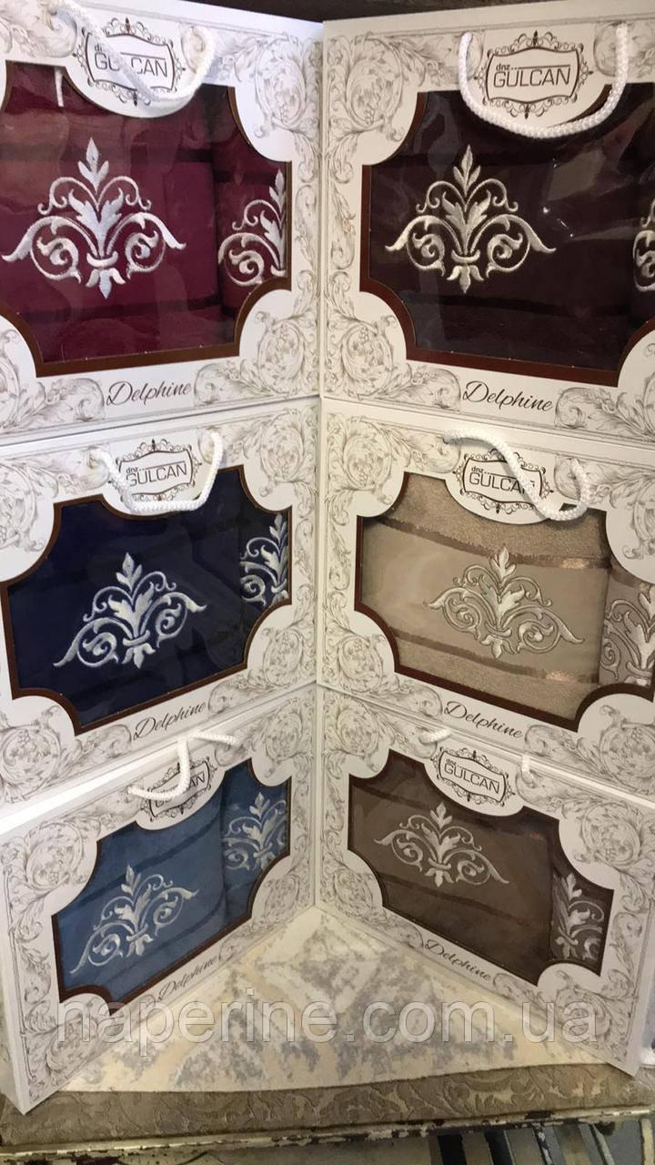 Набор люксовых махровых полотенец  1 банное  1 лицевое  в подарочной упаковке Турция