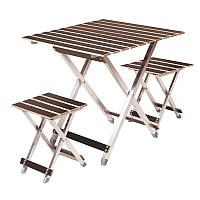 Стол складной туристический Vitan Aluwood (660х640х660мм) + 2 складных стула, алюминиевая рама