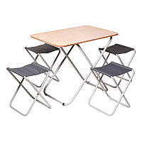 Стол складной туристический Vitan Пикник (650/570х750х500мм) + 4 складных стула, стальная рама,чехол