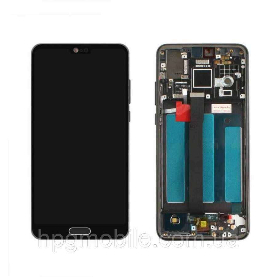 Дисплей для Huawei P20 (EML-L29, EML-L09), модуль (экран и сенсор), с рамкой, черный, оригинал