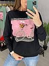 Женский трикотажный свитшот с рисунком на груди 33sv847, фото 2
