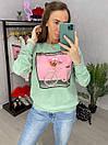 Женский трикотажный свитшот с рисунком на груди 33sv847, фото 4