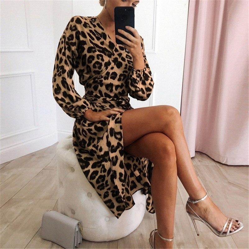 Шифоновое женское платье с имитацией запаха длиной миди с длинными рукавами 83py1550