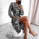 Шифоновое женское платье с имитацией запаха длиной миди с длинными рукавами 83py1550, фото 3